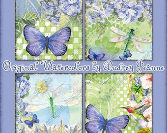 Digital Watercolor Blue Butterfly Dragonfly 4 in square collage sheet AJR-023B hummingbird dragonflies hydrangeas coaster label