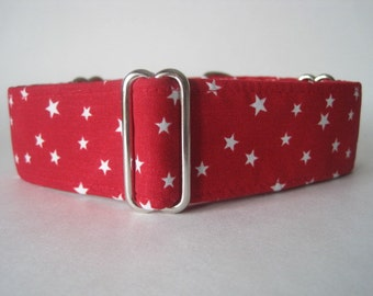 Red Martingale Collar, 2 inch Martingale Collar, Stars Martingale Collar, Red Dog Collar, Red Stars Dog Collar