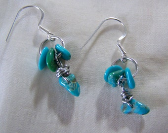 Turquoise Gemstone and Sterling Silver Earrings