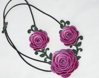 Flower necklace leather necklace choker purple roses leather jewelry mixed media jewelry wedding accessories prom wearable art