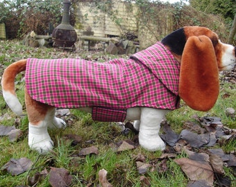 Dog Jacket - Pink Black and Yellow Plaid Dog Coat- Size Medium- 16-18 Inch Back Length