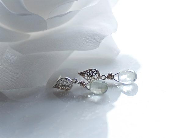 sterling silver filligree teardrop post earrings with green amethyst