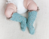 BABY LACE SOCKS with linen lace trim knit in mint green Baby shower gift Baptism accessory