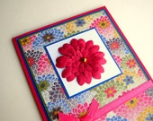 Floral Washi Blue Pink Multicolored Greeting Card With Pink Flower Blank Inside