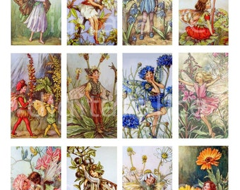 FLOWER FAIRIES Rectangles - Instant Download Digital Printable Cards Tags  Collage Sheet
