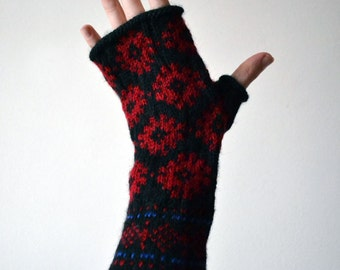 Long Fingerless Gloves with Snowflackes - Wool Fingerless Gloves - Red Black Fingerless -  Winter Accessories nO 90.