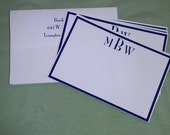 Fine Personalized Stationary. Set of 10 3x5 flat note cards printed w/ 3 letter monogram & envelope w/ return address
