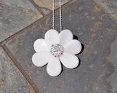 7 Petal Flower Necklace with AB Swarovski Crystals by Kim Lugar