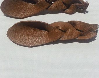 Sienna Brown Braided Leather Earrings, Braided Leather Earrings, Leather Earrings, Braided Earrings, Dangle Earrings, Leather