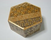 Japanese Puzzle box (Himitsu bako)- HEXAGON -115mm (4.5inch) 6steps Yosegi