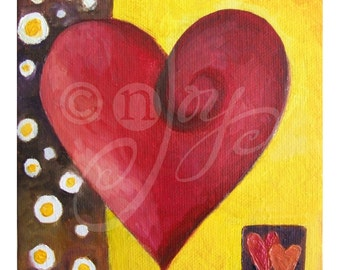 Romantic Art, MODERN ART HEART, 5x5 Oil on Canvas, Art for small spaces, great for your valentine