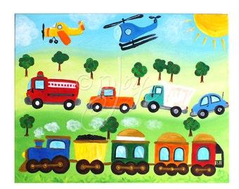 Transportation Art PRINT for Kids, 20x16 Print of Rush Hour Painting, Art for boys room or nursery