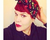 Vintage Inspired Head Scarf, Bandana Style, Black with Cherries, Rockabilly, Retro, 1940s, 1950s