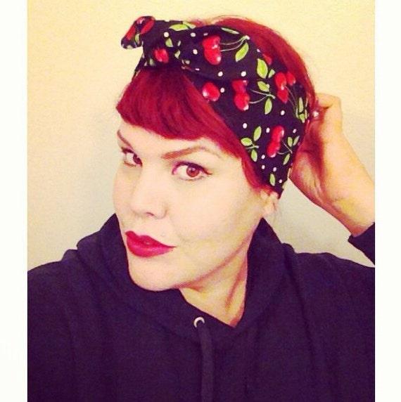 Vintage Inspired Head Scarf, Bandana Style, Black with Cherries, Rockabilly, Retro, 1940s, 1950s