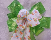 Lime Green Shimmering bow with Easter Egg Decorative Bow center