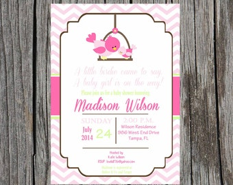 Birdie Baby Shower Invitation, baby girl baby shower, bird, DIY, printable