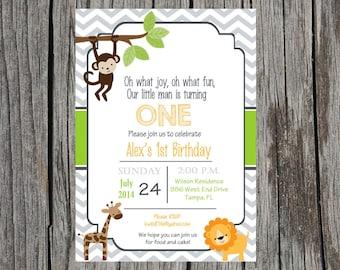 Printed Jungle Animals birthday invitation, jungle birthday invitation, custom and printable, birthday, boy birthday