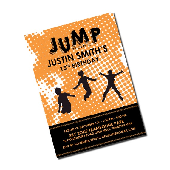 Trampoline Party Invitations: Trampoline Birthday Invitation Jump Park By Kreativees On Etsy