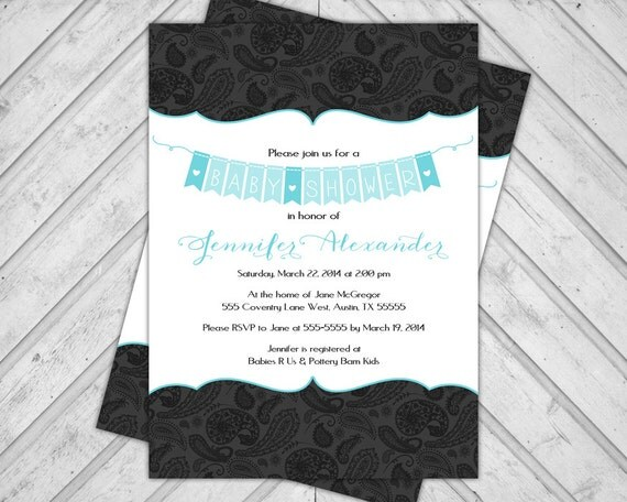Turquoise baby shower invite boy - DIY baby shower invitation paisley - black and white - banner - printable (771)