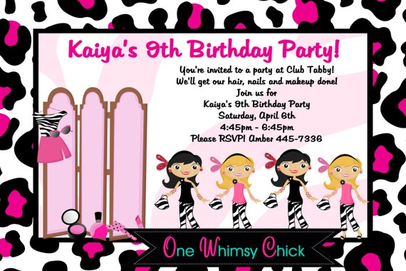 Glamour Girl Birthday Invitation, Glamour Girl Party Invitations, Printable or Printed