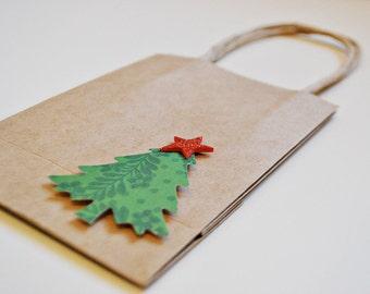 Kraft christmas bags Christmas gift bags Gift bags with christmas trees