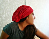 Coral Red Slouchy Beanie Cotton Summer Hat