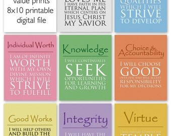 8x10 LDS Young Women Values - 8 print value pack  - Digital Prints