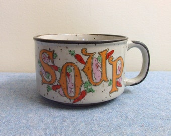 Soup Mug - Bunnies and Carrots - Made in Japan Ceramic