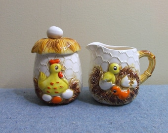 1950s Simpsons-Sears Limited Edition Chicken and Eggs Cream and Sugar Set