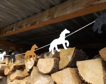 Horse Garland, Horse bunting, Horse decor, Horse Banner, equestrian, Felt Garland, Horse Birthday, Running Horse, Horse Art, Horse Gift,