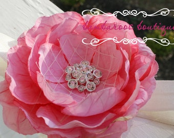 pink flower girl hair accessories, baby headband, infant headband, ivory flower headband, peony