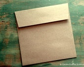 "100 Mini Square Envelopes, 3 1/4"" (83mm) or 4"" (102mm) Squared Kraft Brown Envelopes, 3.25x3.25"" or 4x4"", grocery bag, recycled eco-friendly"
