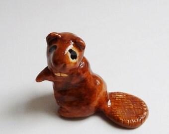Beaver Ceramic Terrarium Figurine Forrest Animal