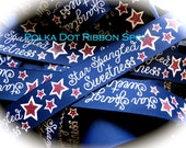 Glitter Star Spangled Sweetness ribbon 5 yards- 7/8 inch wine, navy, cream grosgrain July 4th hair bow US designer Patriotic ribbon