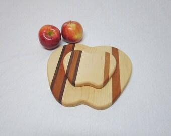 Apple Cutting Board Trivet Set.  Teacher Gift.  Free Shipping.