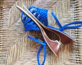 70s KISS--Bright Blue Sandals--Braided Leather--Wooden Heel--Made in Brazil--Size 8.5