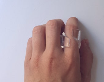 Curved Clear Transparent Lucite Ring