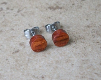 "Stud Earrings, Pao Rosa Wood Stud Earring, Natural Wooden Earring, Surgical stainless Steel Posts - 1/4""(6mm) - 343"