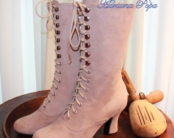 Victorian Boots Victorian Boots Lace up shoes Suede light Pink / light peach suede leather 100% Handcrafted
