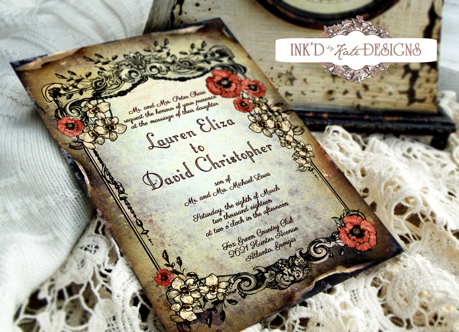 Vintage spring floral wedding invitation by inkdbykate on etsy for Handmade wedding invitations for sale