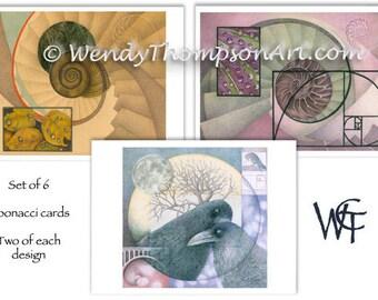 Fibonacci art note cards -Set of 6, Two of each original design, raven corvid fantasy, luna moon celtic, spirals water drops leaves feathers