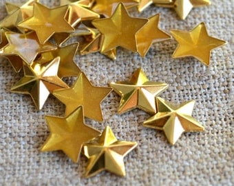 50pcs Flat Back Gold Finished Brass Hot-Fix Rhinestud 12x12mm Star