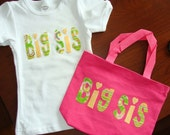 """Personalized Big Sister Shirt and Tote (8.5"""" x 11"""" x 3"""")"""
