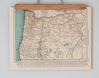 1930s Antique State Maps of Oregon and Pennsylvania