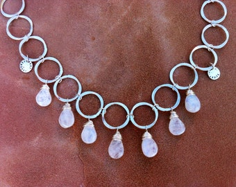 Artisan jewelry Silver links, rainbow moonstone drops, sun coins, gold inlay necklace
