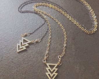 Gold Necklace-Chevron-Arrow-Geometric Necklace