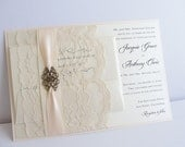 Lace Wedding Invite, Lace Wedding Invitation, Lace Invite, Vintage Invitation,  Lace Invitation, Ivory Lace Invite,FILIGREE - SMALL
