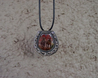 Enamel Seabiscuit Race Horse in Horseshoe Pin Pendant Sterling Silver,Equestrian Jewelry,Horse Racing Jewelry