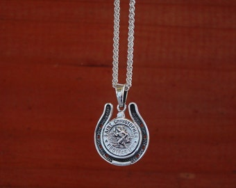 """St.Christopher in Horse Shoe Pendant Sterling Silver with 18"""" Chain,Equestrian Jewelry,Horse Pendant"""