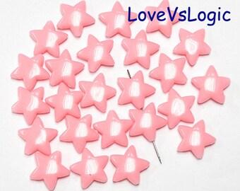 30 Puff Star Acrylic Bead. Pink